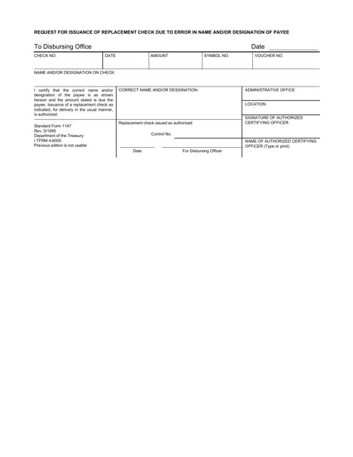 GSA Form SF-1147  Printable Pdf