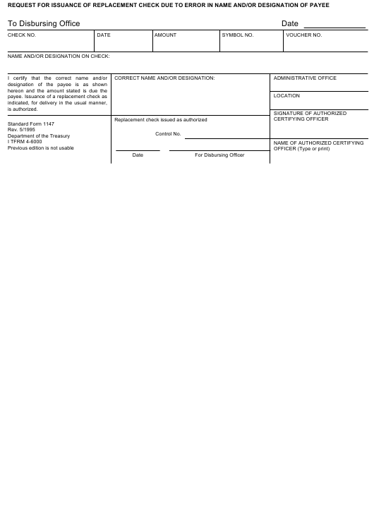 GSA Form SF-1147 Fillable Pdf