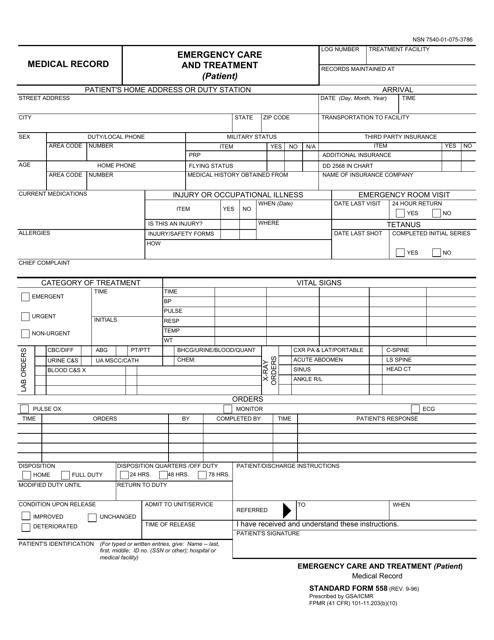 GSA Form SF-558 Printable Pdf