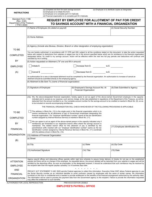 GSA Form SF-1198 Fillable Pdf