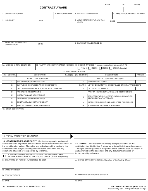 GSA OPTIONAL Form 307 Printable Pdf