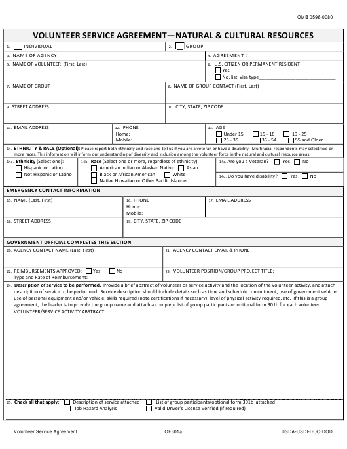 GSA Optional Form 301A  Printable Pdf