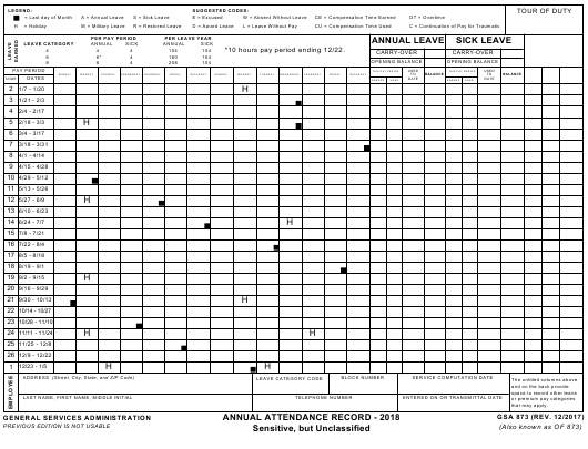 GSA Form 873 2018 Fillable Pdf