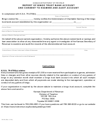 Form BI-56 Report of Bingo Trust Bank Accountand Consent to Examine and Audit Account - Kansas