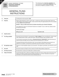 "Form CD40-2 ""Insurance Certificate of Domestication"" - Kansas"