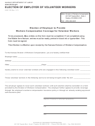 "K-WC Form 123 ""Election of Employer of Volunteer Workers"" - Kansas"