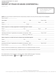 "K-WC Form 44 ""Report of Fraud or Abuse (Confidential)"" - Kansas"