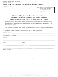 K-WC Form 51 Election of Employer to Cover Employees - Kansas