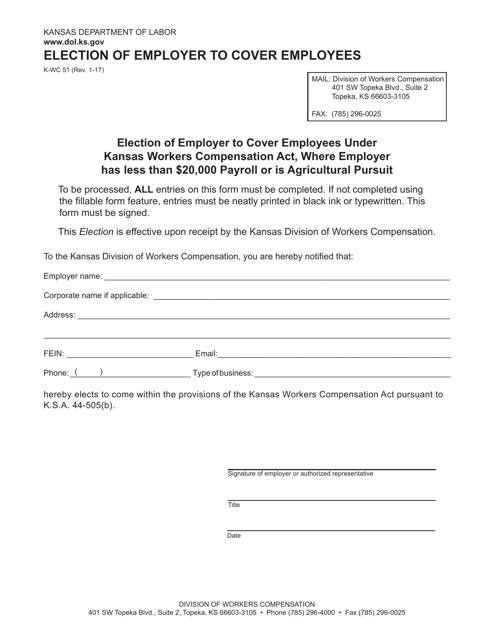 K-WC Form 51  Printable Pdf