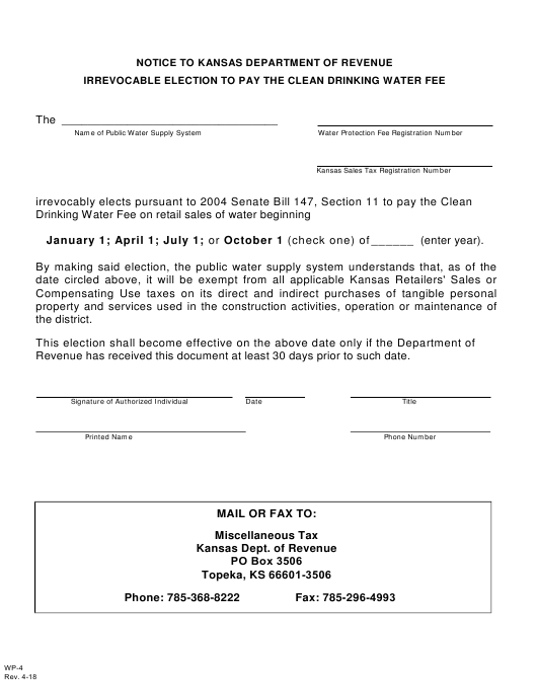 Form WP-4  Printable Pdf