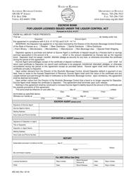Form ABC-803 Escrow Bond for Liquor Licenses Issued Under the Liquor Control Act - Kansas
