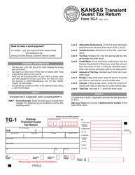 Form TG-1 Transient Guest Tax Return - Kansas