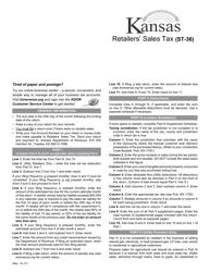 "Form ST-36 ""Kansas Retailers' Sales Tax Return"" - Kansas"
