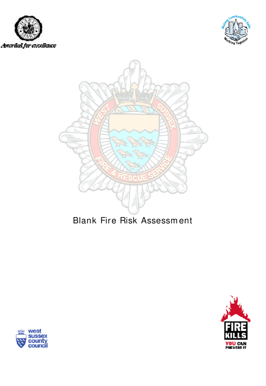 """Fire Risk Assessment Form"" - West Sussex, United Kingdom Download Pdf"