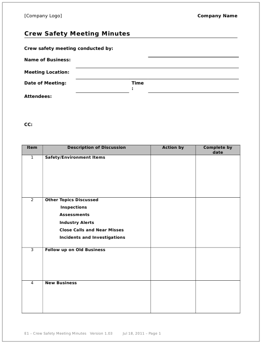 """""""Crew Safety Meeting Minutes Template"""" Download Pdf"""
