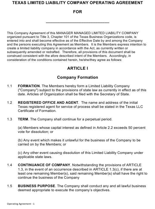 """Limited Liability Company Operating Agreement Template"" - Texas Download Pdf"