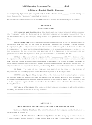 """Limited Liability Company Operating Agreement Template"" - Delaware"