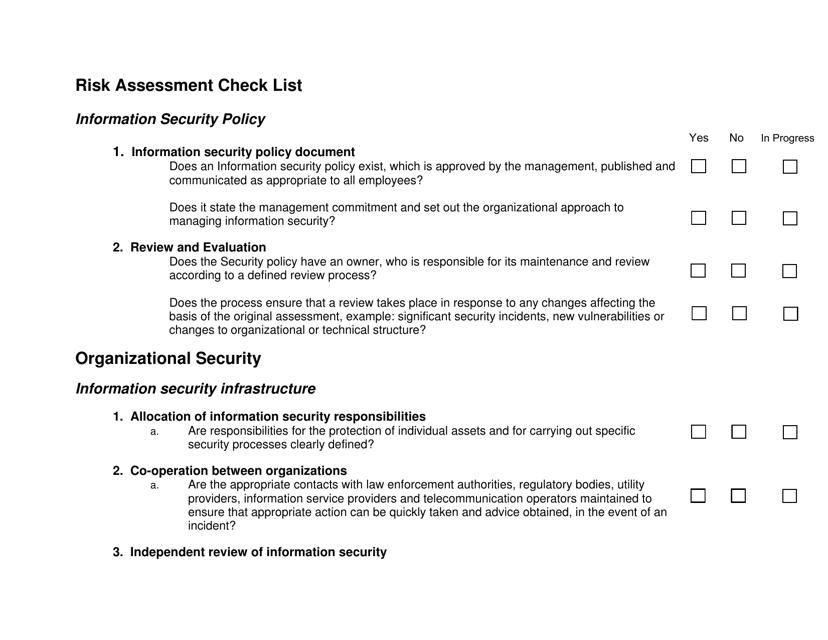 Risk Assessment Checklist Template Download Fillable PDF