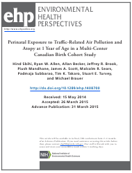 Perinatal Exposure to Traffic-Related Air Pollution and Atopy at 1 Year of Age in a Multi-Center Canadian Birth Cohort Study