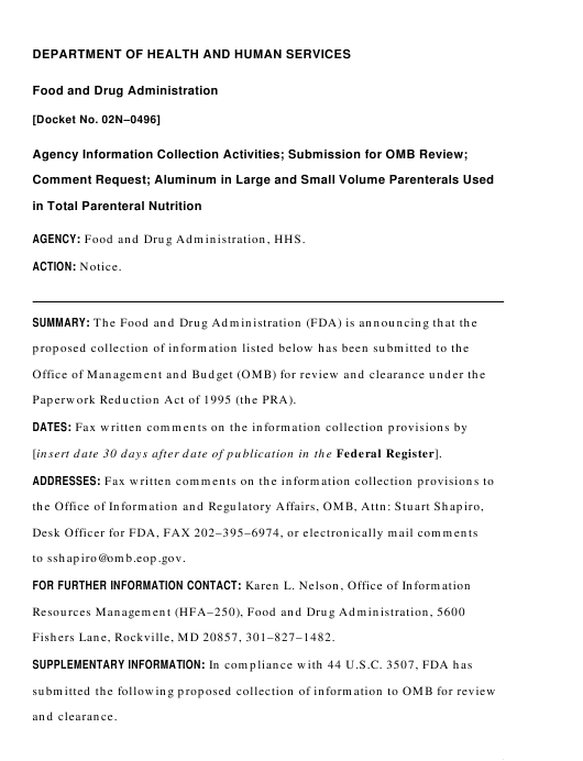 Agency Information Collection Activities; Submission for Office of Management and Budget Review; Comment Request; Aluminum in Large and Small Volume Parenterals Used in Total Parenteral Nutrition Download Pdf