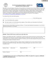 """State of Colorado Medical Certificate for Influenza-like Illness"" - Colorado"