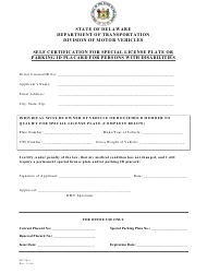 Form MV 2011 0002 Self Certification for Special License Plate or Parking Id Placard for Persons With Disabilities - Delaware