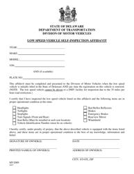 "Form MV2009 ""Low Speed Vehicle Self-inspection Affidavit"" - Delaware"