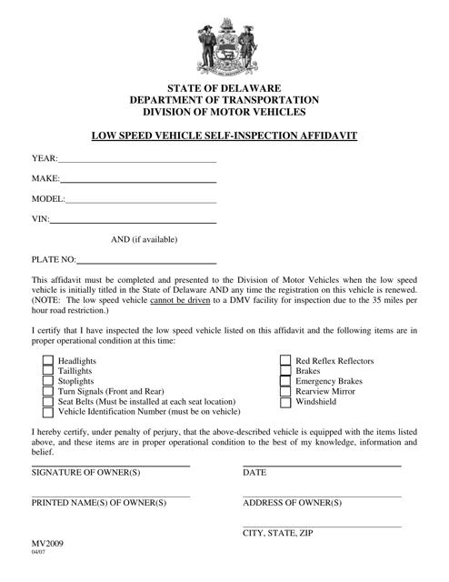 Form MV2009  Printable Pdf