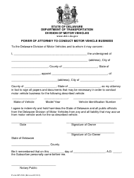 "Form MV386 ""Power of Attorney to Transfer a Vehicle Title"" - Delaware"