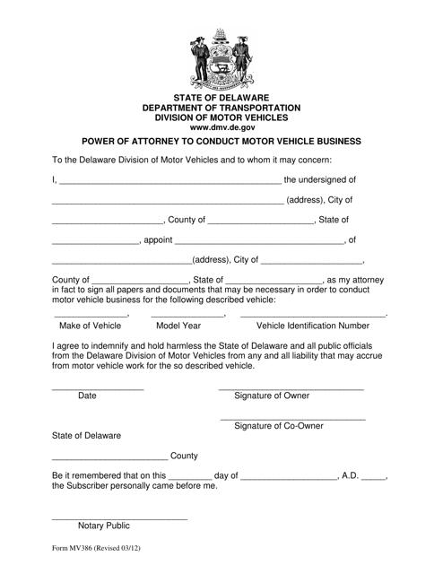 Form MV386  Printable Pdf