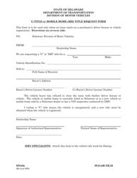 "Form MV616 ""U-Title or Mobile Home Title Request Form"" - Delaware"