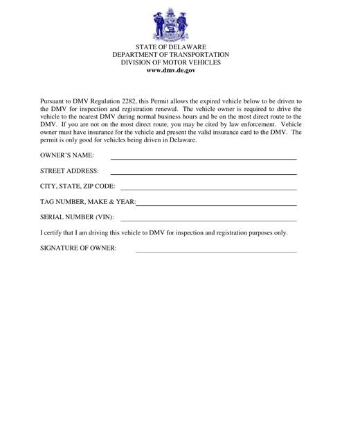 """Verbal Permit to Drive to Dmv"" - Delaware Download Pdf"