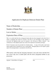 "Form MV508 ""Application for Duplicate Delaware Dealer Plate"" - Delaware"