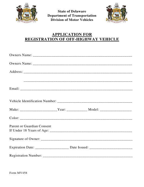 Form MV458  Printable Pdf