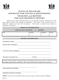 "Form MV725 ""Affidavit for Titling & Registering of Trailers and Mopeds for Non-resident Owners"" - Delaware"