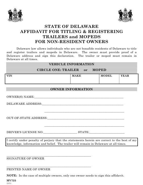 Form MV725  Printable Pdf