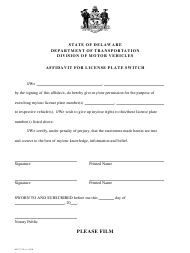 "Form MV71 ""Affidavit for License Plate Switch"" - Delaware"