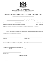 "Form MV72 ""Affidavit to Release Retained License Plate to Relative"" - Delaware"
