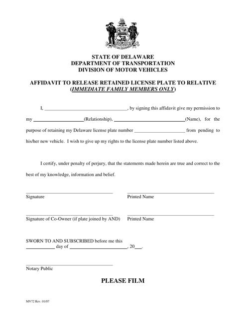Form MV72  Printable Pdf