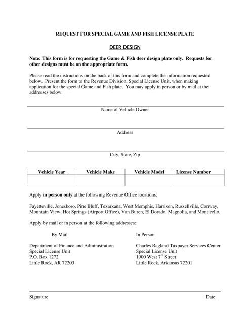 """""""Request for Special Deer Design License Plate"""" - Arkansas Download Pdf"""