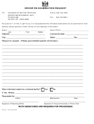 "Form MV-351 ""Driver Re-examination Request Form"" - Delaware"