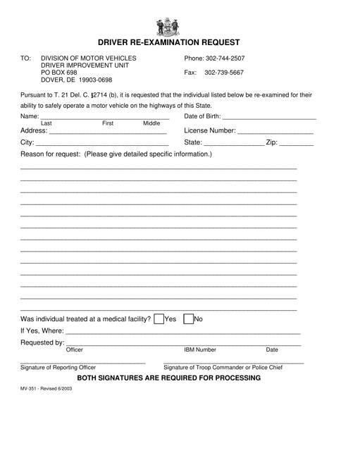 Form MV-351  Printable Pdf