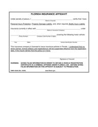 "Form HSMV83330 ""Florida Insurance Affidavit"" - Florida"