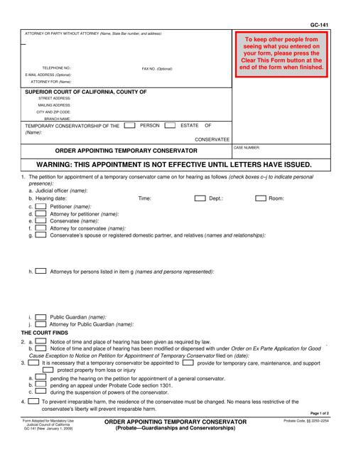 Form GC-141  Printable Pdf