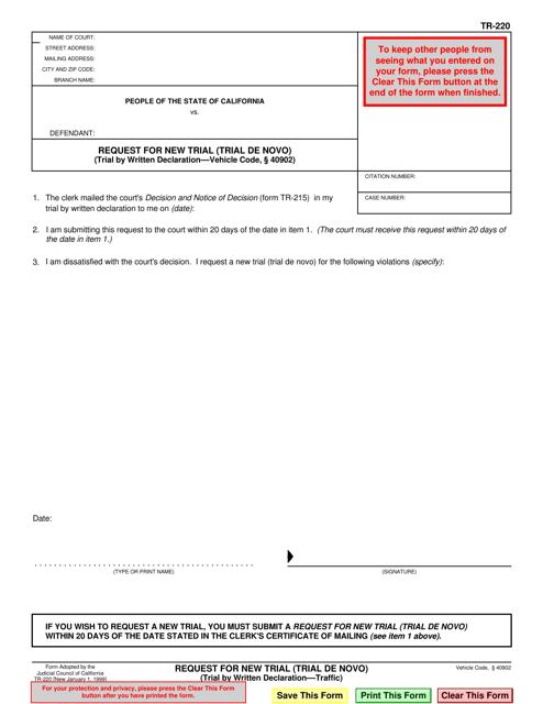 Form TR-220  Printable Pdf