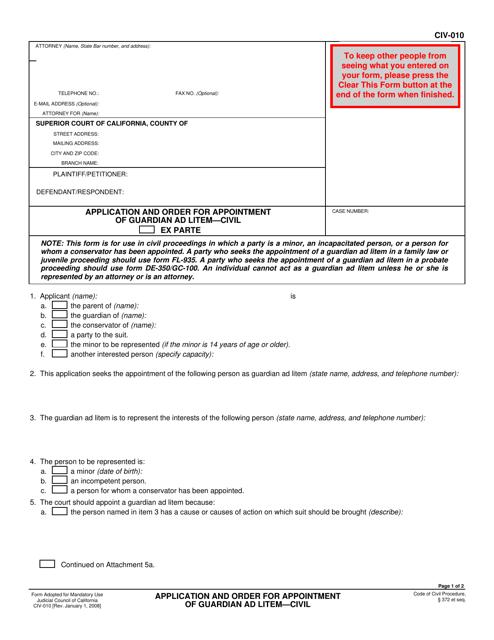 Form CIV-010  Printable Pdf