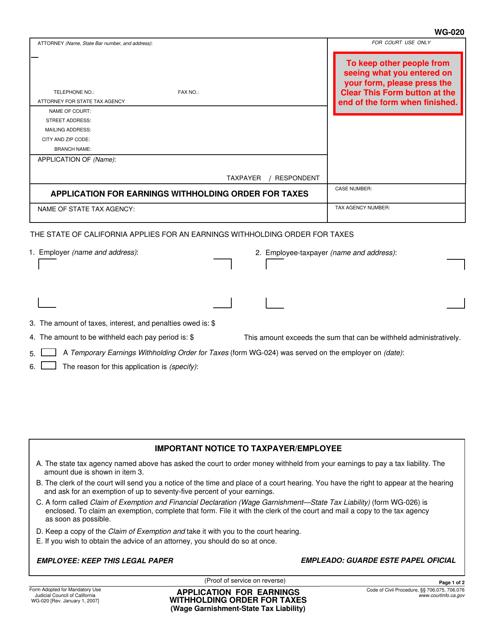Form WG-020  Printable Pdf