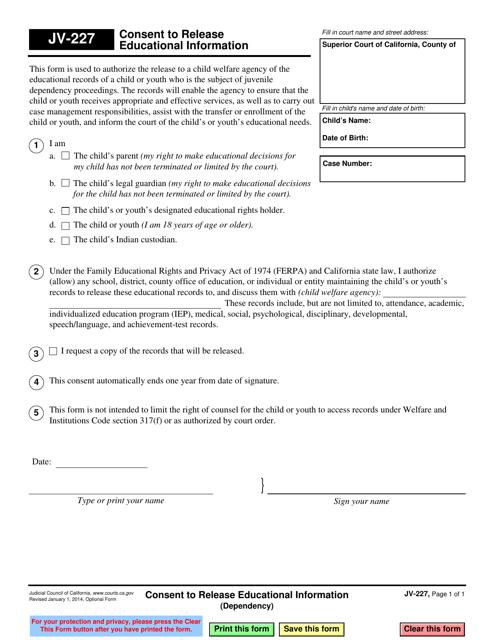 Form JV-227  Printable Pdf