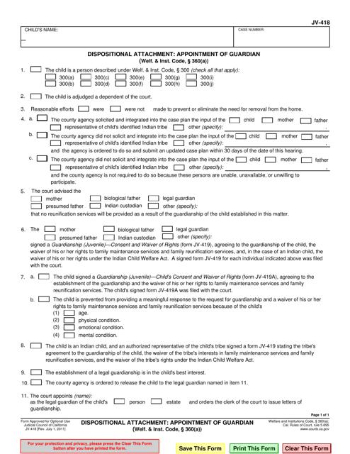 Form JV-418  Printable Pdf