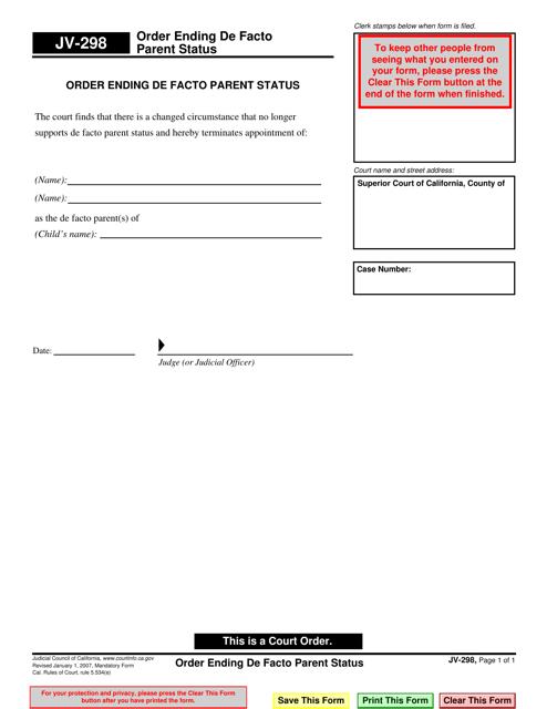 Form JV-298  Printable Pdf